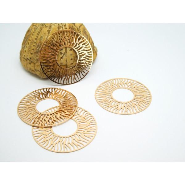 4 Estampes filigranées rondes Soleil 30mm doré - Photo n°1