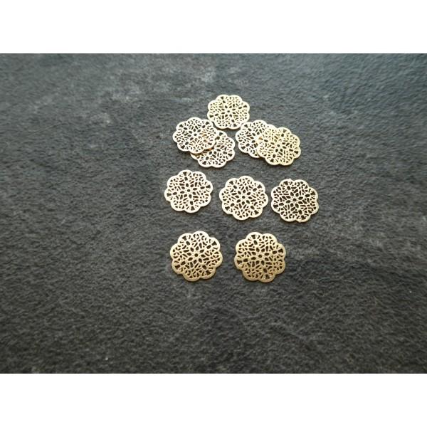 10 Estampes filigranées fleur 10*10mm doré - Photo n°1