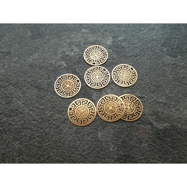 10 Estampes filigranées rondes motif géométrique 13mm doré - Photo n°1
