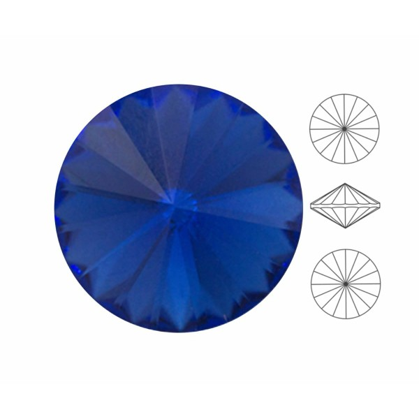 6 pièces Izabaro Cristal Saphir Bleu 206 Rond Rivoli Verre Cristaux 1122 Izabaro Pierre Chatons Face - Photo n°1