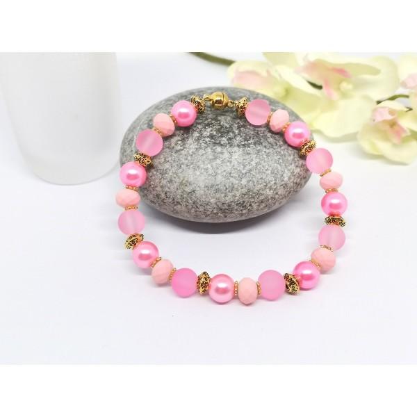 Kit bracelet ajustable perles en verre rose 18 cm - Photo n°2