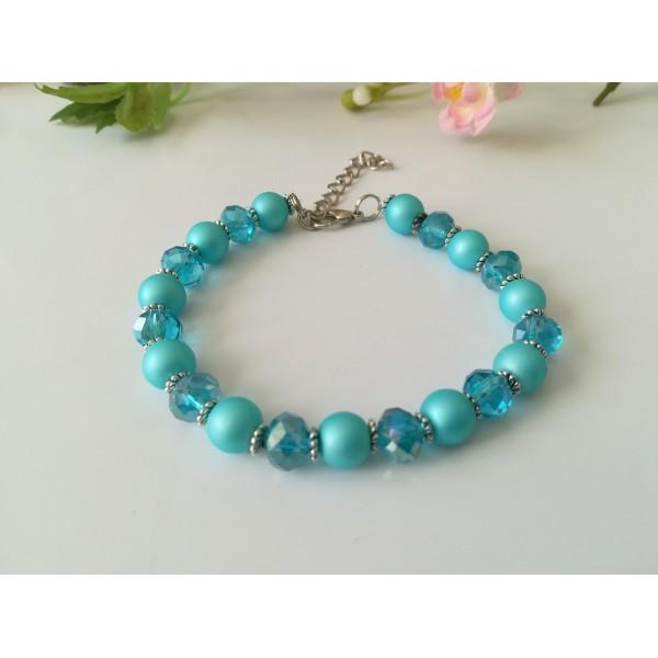 Kit bracelet ajustable perles en verre rose 18 cm - Photo n°3