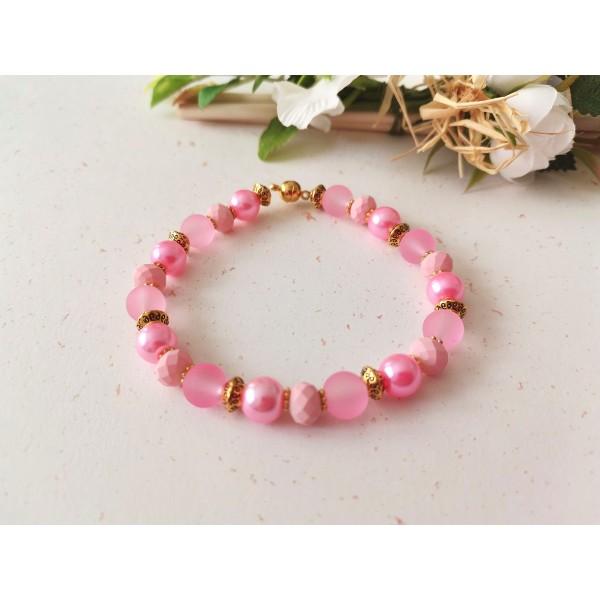 Kit bracelet ajustable perles en verre rose 18 cm - Photo n°1