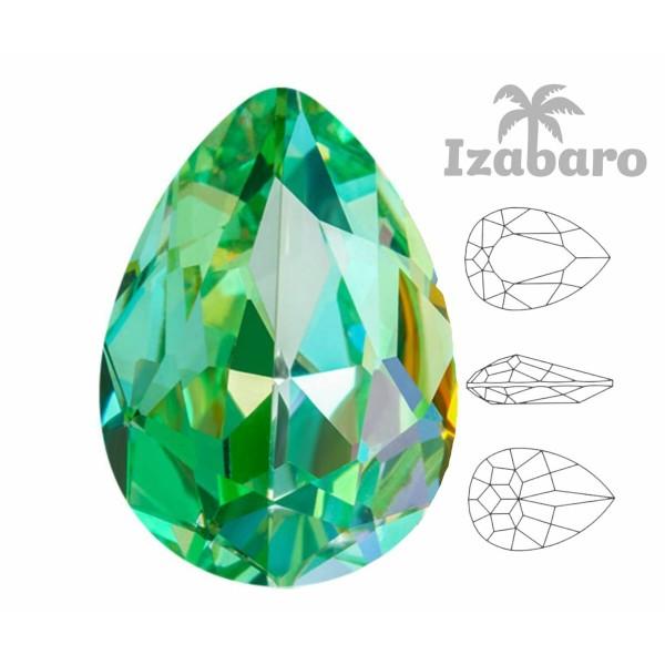 4 pièces Izabaro Cristal Péridot Vert Arc en Ciel 214rb Poire Larme Fantaisie Pierre Verre Cristaux - Photo n°2