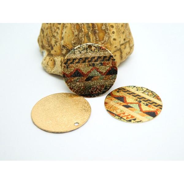 2 Breloques rondes pailletées 20mm imprimé ethnique marron, noir et doré - Photo n°1