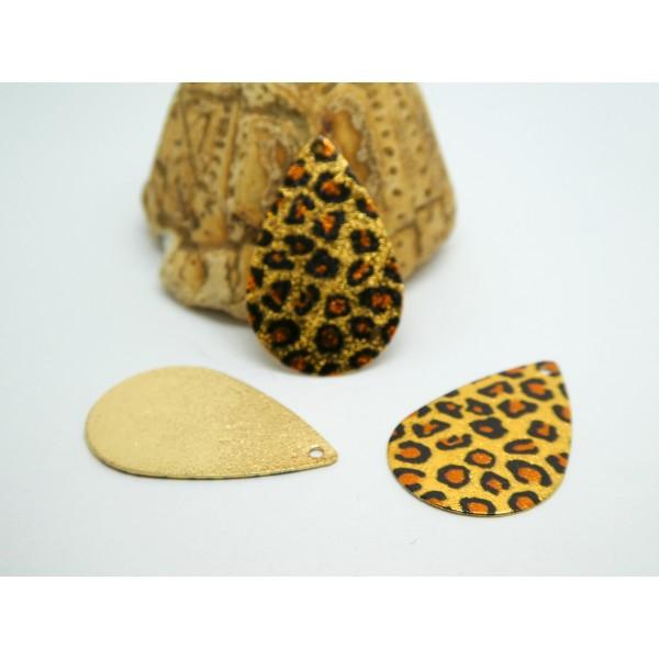 2 Breloques goutte pailletée 28*18mm imprimé léopard doré, marron, noir - Photo n°1