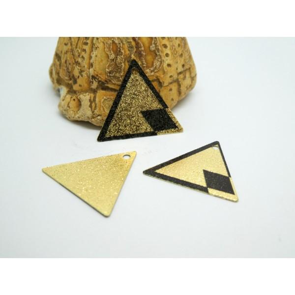 2 Breloques triangle pailleté 22*19mm imprimé géométrique doré et noir - Photo n°1