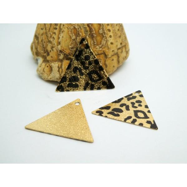 2 Breloques triangle pailleté 22*19mm imprimé léopard doré et noir - Photo n°1