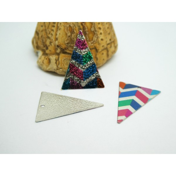 2 Breloques triangle pailleté 25*18mm imprimé géométriques, rayures multicolore - Photo n°1