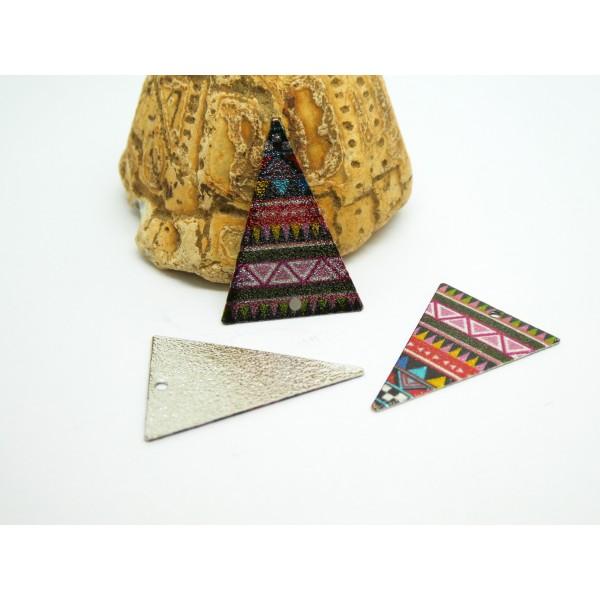 2 Breloques triangle pailleté 25*18mm imprimé ethnique multicolore - Photo n°1