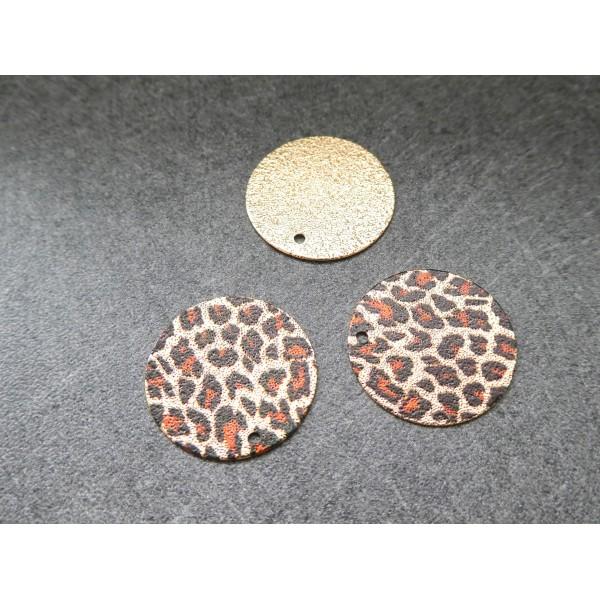 2 Breloques rondes pailletées 20mm imprimé léopard doré, marron, noir - Photo n°1