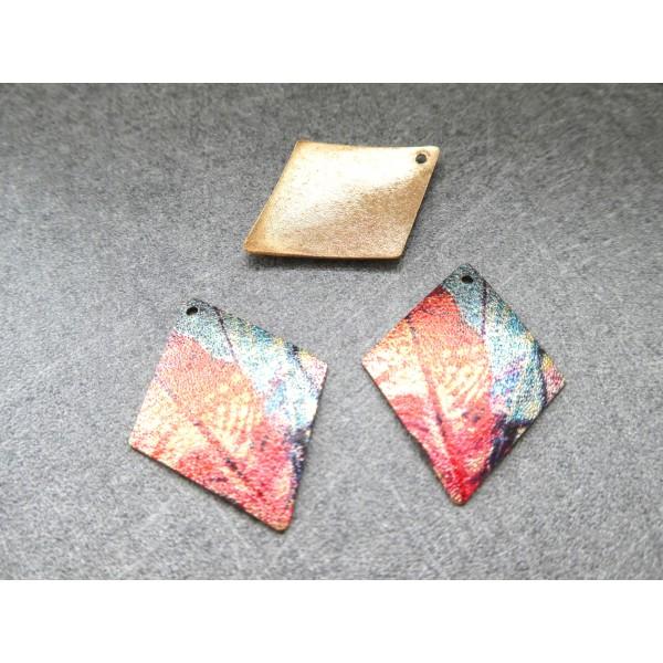 2 Breloques losange pailletées 29*22mm doré, vert, rouge - Photo n°1