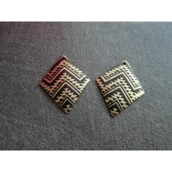 2 Breloques losange pailletées 29*22mm motif ethnique, aztèque noir et doré - Photo n°1