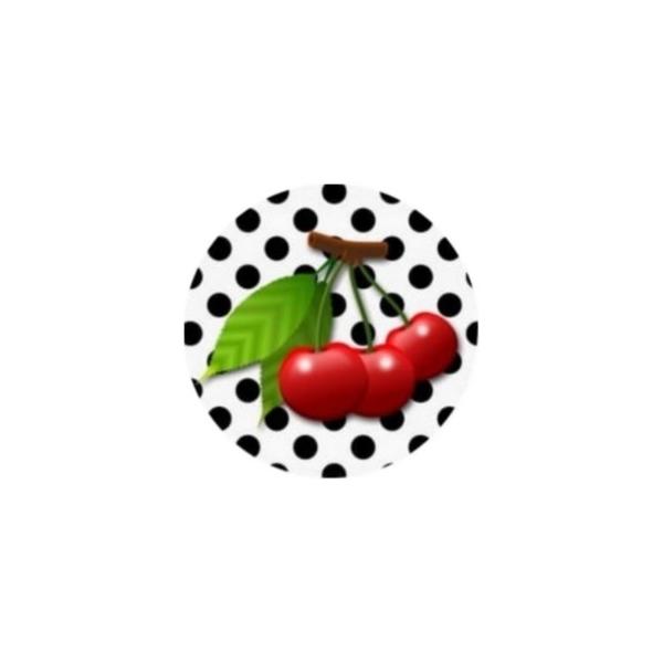 1 Cabochon 14 mm, Verre Rond, Cerise Rouge Fond Blanc Pois Noirs - Photo n°1