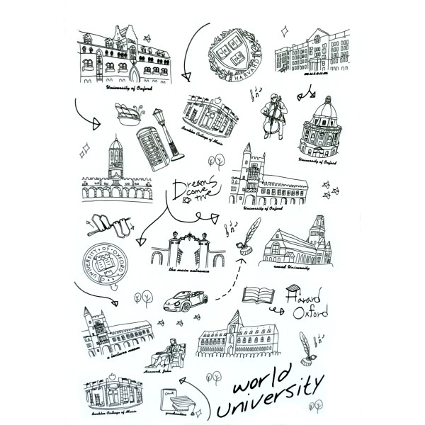 Feuille de stickers autocollants : World University - Photo n°1