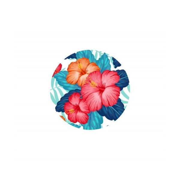 2 Cabochons Verre 14 mm, Cabochon Rond, Fleurs Tropicales Hibiscus - Photo n°1