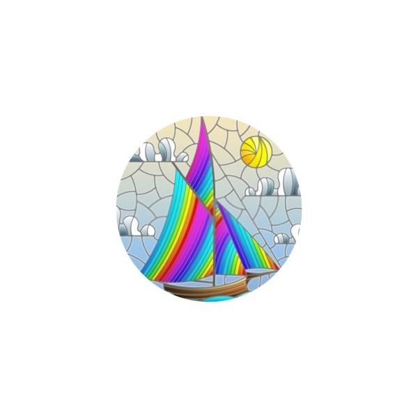 1 Cabochon Verre 25 mm, Cabochon Rond, Voilier Coloré - Photo n°1