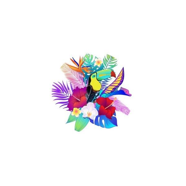 2 Cabochons Verre 14 mm, Cabochon Rond, Toucan Fleur Tropique 2 - Photo n°1