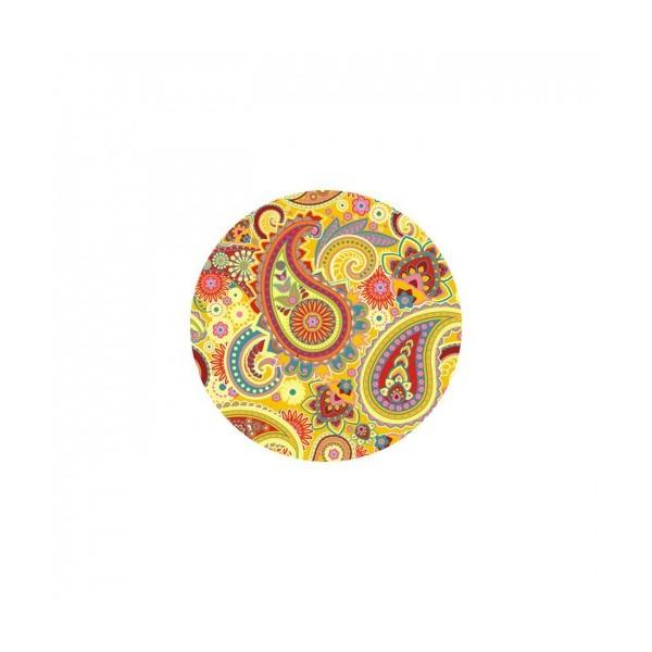 1 Cabochon Verre 25 mm, Cabochon Rond, Paisley Jaune - Photo n°1