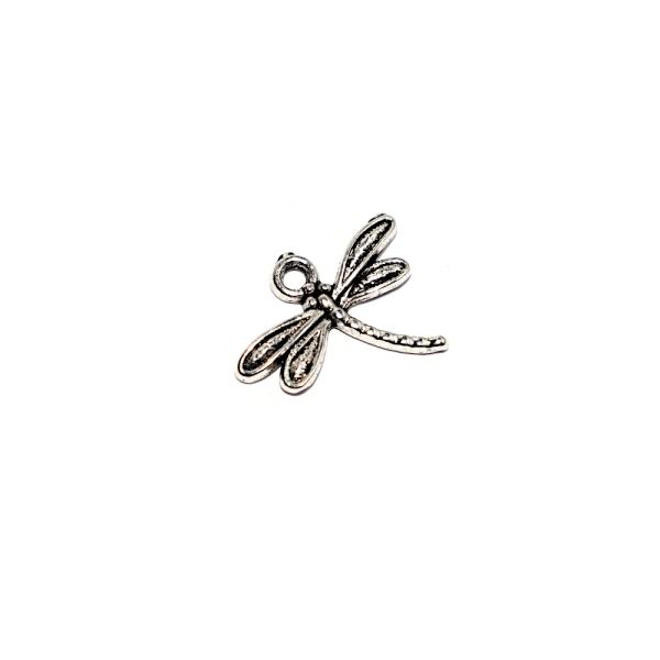 Breloque libellule 19x15mm argenté - Photo n°1