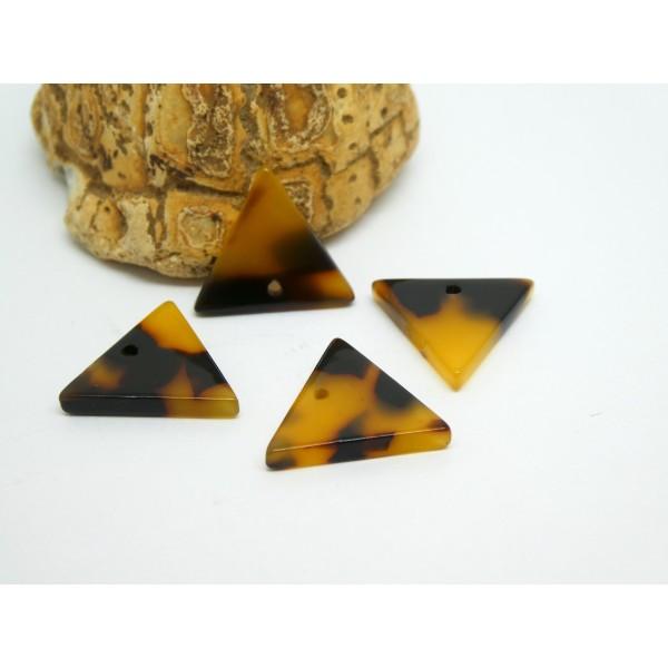 4 Breloques triangle en acétate 16*14mm marron et noir - Photo n°1