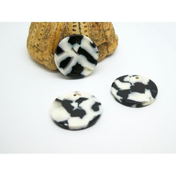 2 Breloques rondes 20mm en acétate de cellulose noir et blanc - Photo n°1