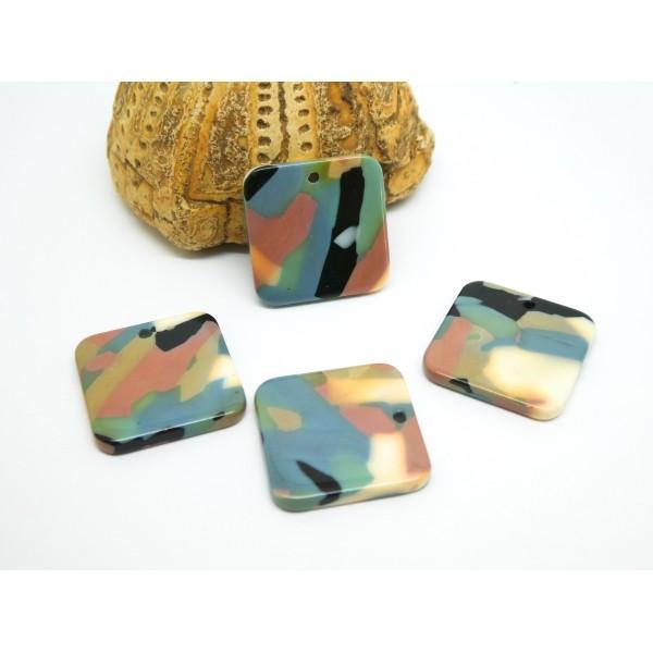 4 Breloques carrées 18*18mm en acétate noir, rose, gris, vert - Photo n°1
