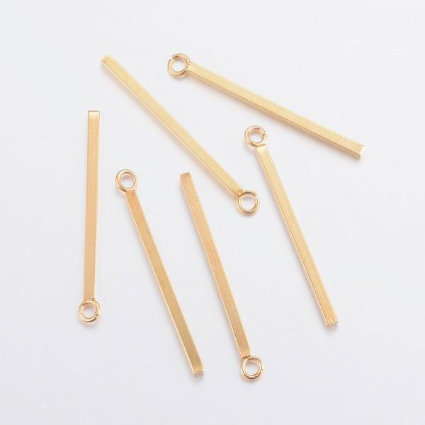 Breloques pendentif acier inoxydable barre dorée x 2 - Photo n°1