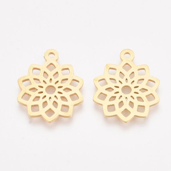 Breloque pendentif acier inoxydable fleur dorée x 1 - Photo n°1
