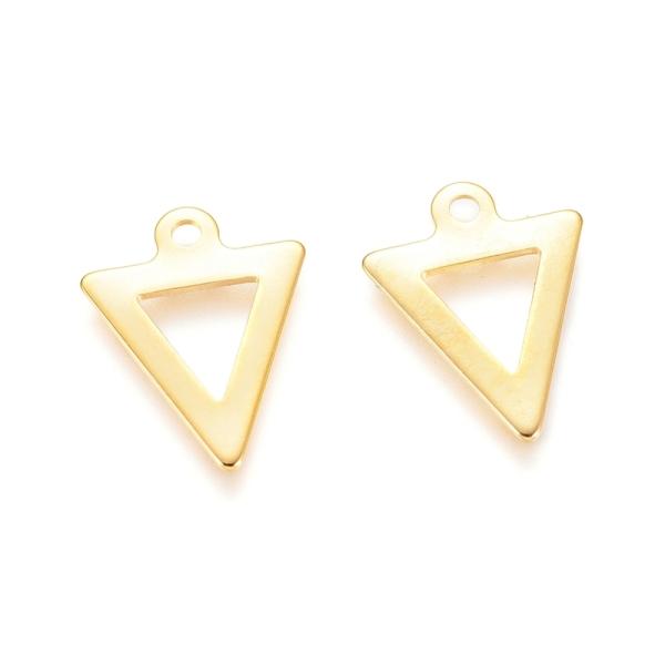 Pendentif breloque acier inoxydable triangle 12 mm doré x 2 - Photo n°1