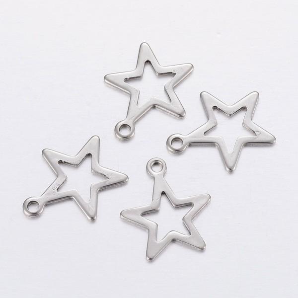 Pendentif breloque acier inoxydable étoile 12 mm platine x 2 - Photo n°1