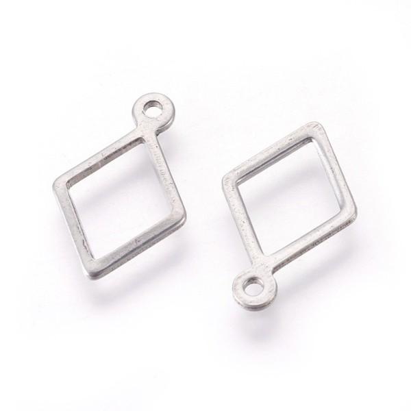 Pendentif breloque acier inoxydable losange 14 mm platine x 2 - Photo n°1