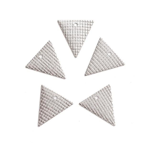 Pendentif breloque acier inoxydable triangle 13 mm platine x 2 - Photo n°1