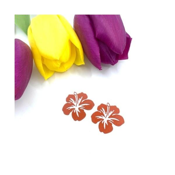 4 Breloques Fleur Hibiscus Orange Doux, Collection Tropique, 20 mm - Photo n°1