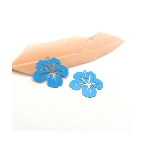 4 Breloques Fleur Hibiscus Bleu Turquoise, Collection Tropique, 20 mm - Photo n°1