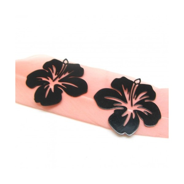 4 Breloques Fleur Hibiscus Noir, Collection Tropique, 20 mm - Photo n°1