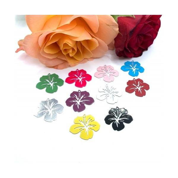 4 Breloques Fleur Hibiscus Prune, Collection Tropique, 20 mm - Photo n°2