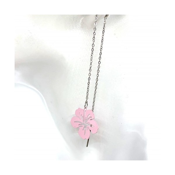 4 Breloques Fleur Hibiscus Prune, Collection Tropique, 20 mm - Photo n°3