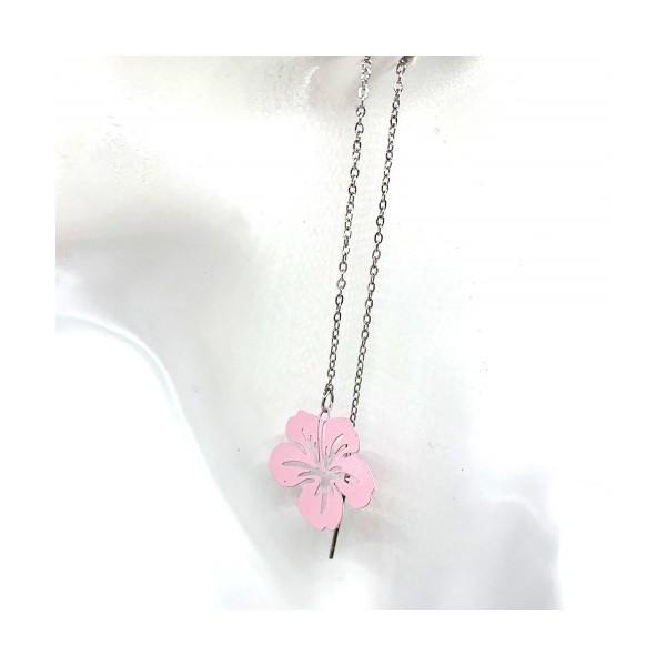 4 Breloques Fleur Hibiscus Rouge, Collection Tropique, 20 mm - Photo n°3
