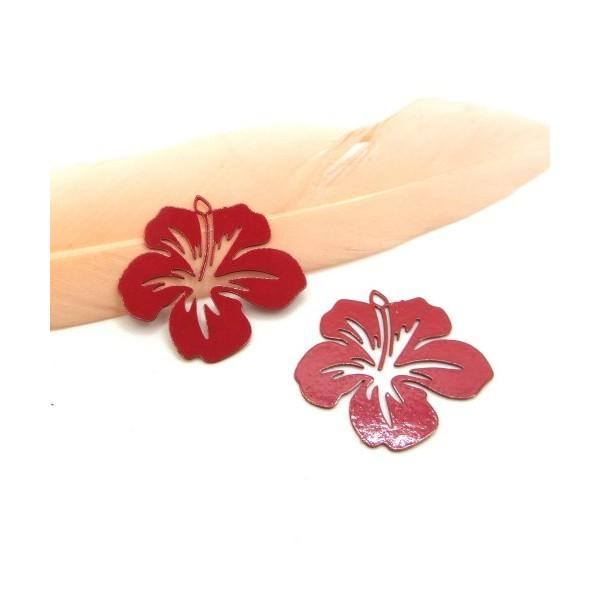 4 Breloques Fleur Hibiscus Rouge, Collection Tropique, 20 mm - Photo n°1