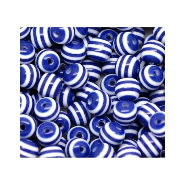20 Perles en Resine Rayé 8mm Bleu Marine et Blanc - Photo n°3