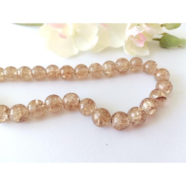 Perles en verre craquelé 10 mm marron x 10 - Photo n°1