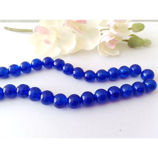Perles en verre craquelé 10 mm bleu nuit x 10 - Photo n°1