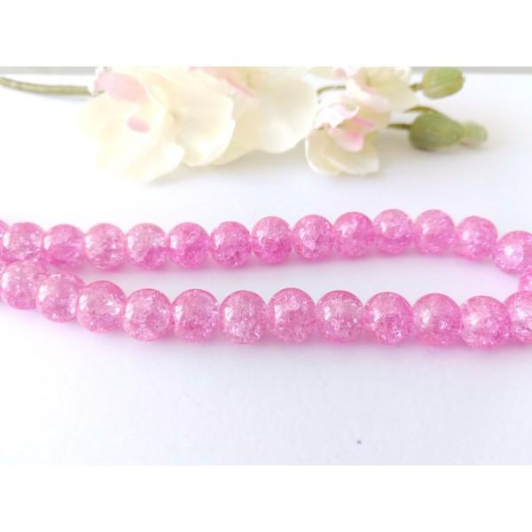 Perles en verre craquelé 10 mm rose x 10 - Photo n°1