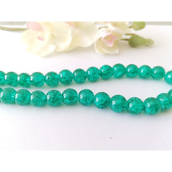 Perles en verre craquelé 10 mm vert turquoise x 10 - Photo n°1