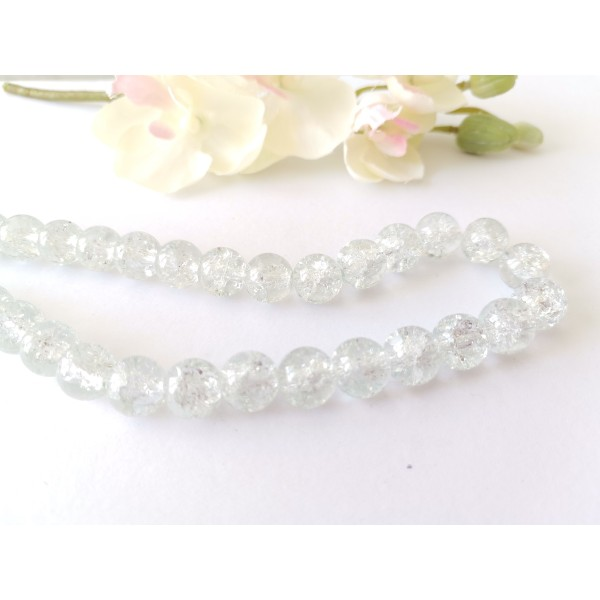Perles en verre craquelé 10 mm cristal x 10 - Photo n°2