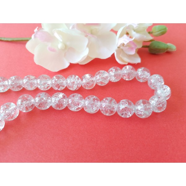 Perles en verre craquelé 10 mm cristal x 10 - Photo n°1