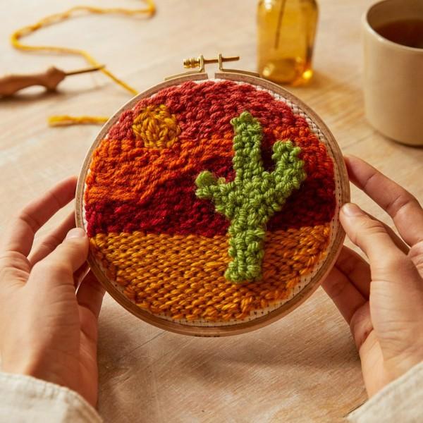Kit DIY Punch Needle Mindful DMC - Terre de sable - Ø 15 cm - Photo n°2