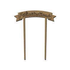 Bannière en bois - Félicitations - 9 x 12 cm - 1 pce