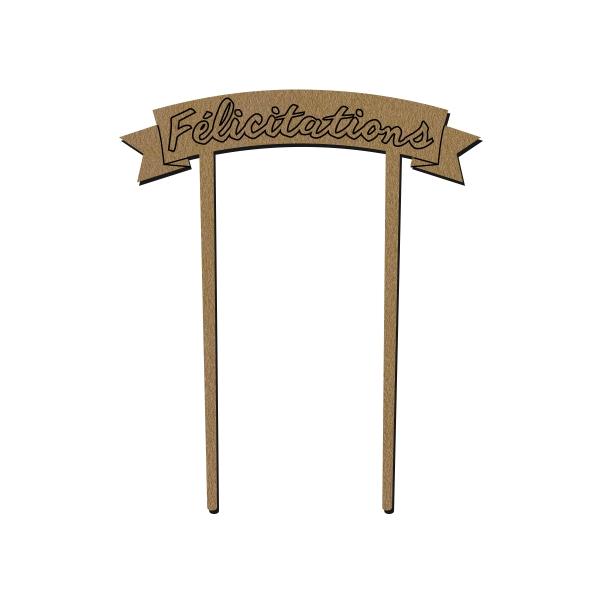 Bannière en bois - Félicitations - 9 x 12 cm - 1 pce - Photo n°1